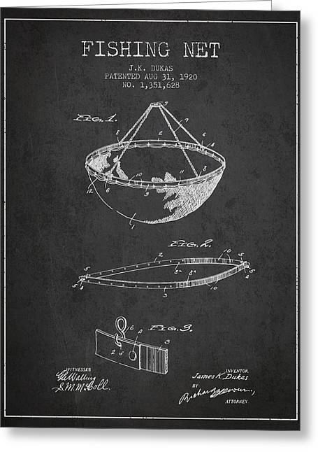 Fishing Net Patent From 1920- Charcoal Greeting Card by Aged Pixel
