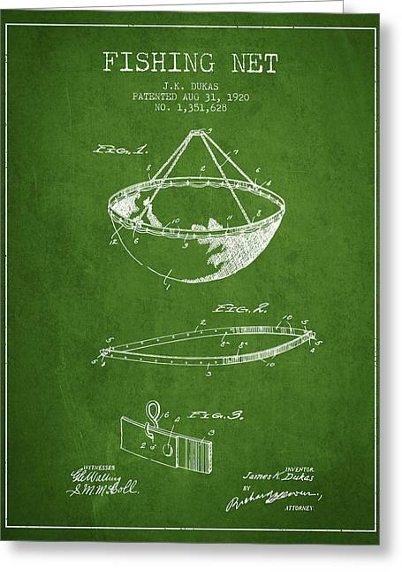 Fishing Net Patent From 1920- Green Greeting Card by Aged Pixel