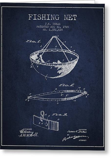 Fishing Net Patent From 1920- Navy Blue Greeting Card by Aged Pixel