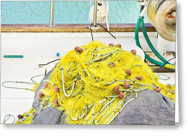 Fishing Net Greeting Card by Tom Gowanlock