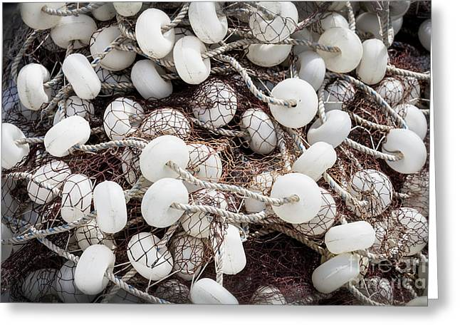 Fishing Nets And Gear White In A Bunch Greeting Card by Frank Bach