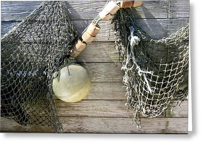 Greeting Card featuring the drawing Fishing Nets by Dianne Levy