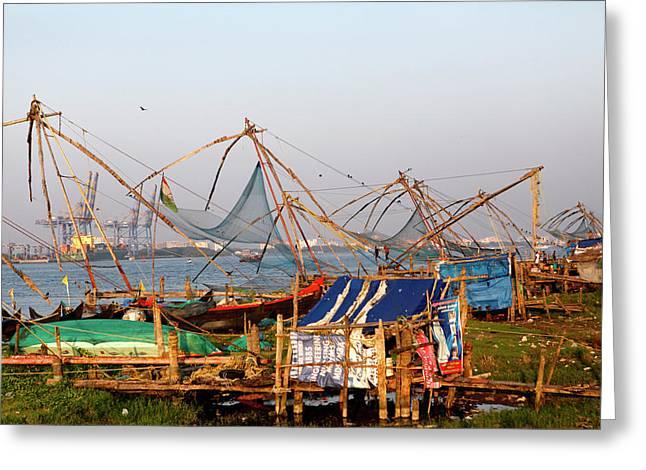 Fishing Nets In Fort Kochi, Kerala Greeting Card by Jill Schneider