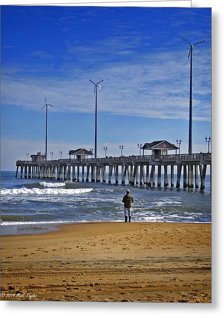 Fishing Next To Jennette's Pier Greeting Card