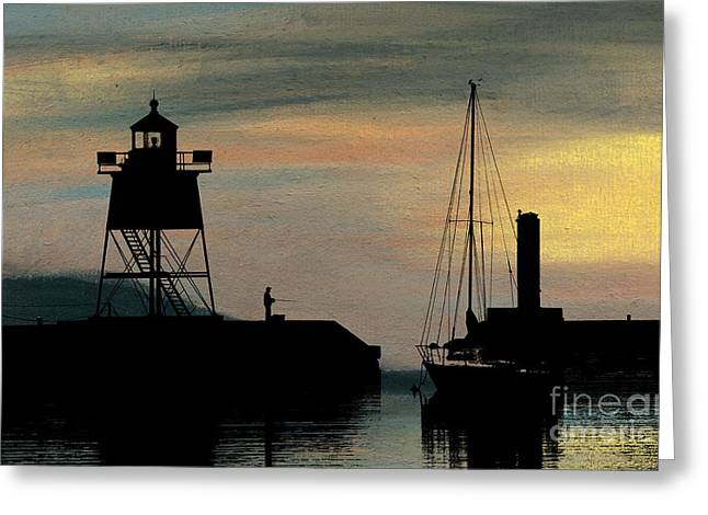 Fishing Off The Breakwater Greeting Card