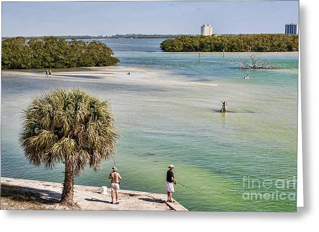 Fishing On Estero Bay Near Fort Myers Beach Florida Greeting Card by William Kuta