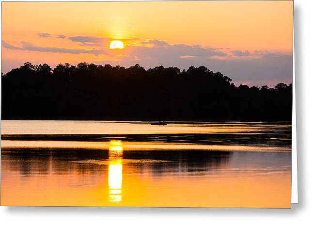 Fishing On Golden Waters Greeting Card by Parker Cunningham
