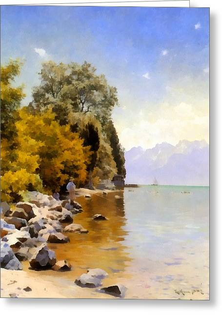Fishing On Lac Leman Greeting Card by Peder Mork Monsted