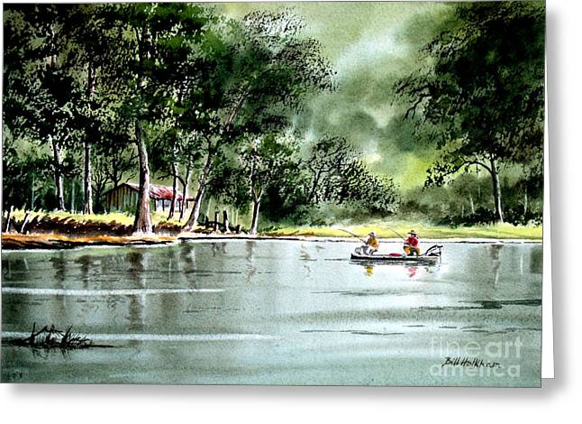 Fishing On Lazy Days - Aucilla River Florida Greeting Card by Bill Holkham