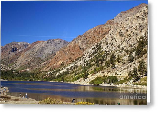 Fishing On Lundy Lake Greeting Card by Rod Jones