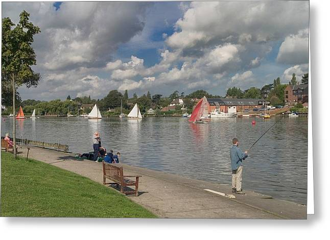 Fishing On Oulton Broad Greeting Card by Ralph Muir