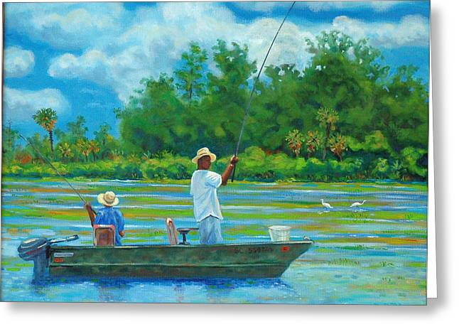 Fishing On The Cooper Greeting Card by Dwain Ray