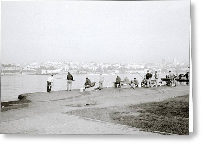 Fishing On The Golden Horn Greeting Card by Shaun Higson