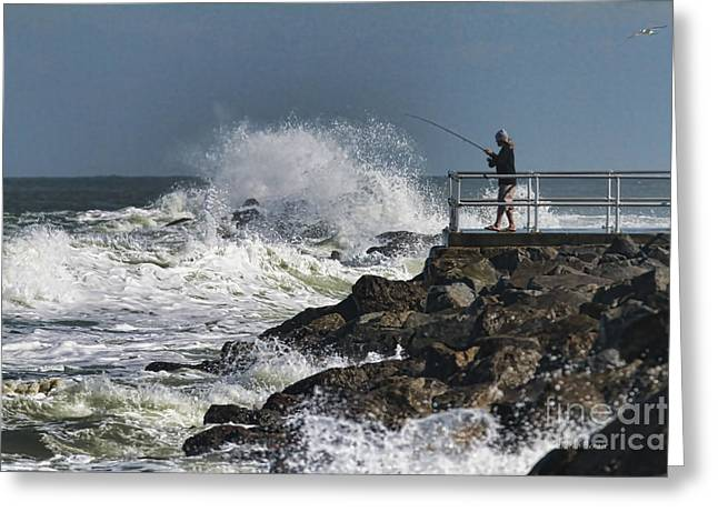 Fishing On The Pier Greeting Card by Deborah Benoit