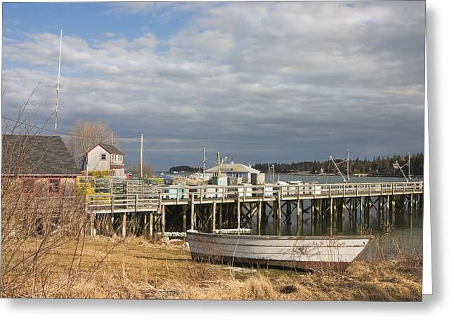 Fishing Pier And Rowboat In Tenants Harbor Maine Greeting Card