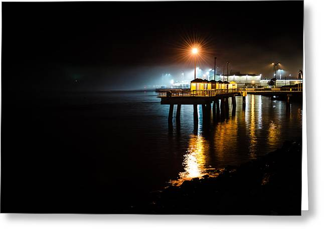Fishing Pier At Night Greeting Card by Brian Xavier