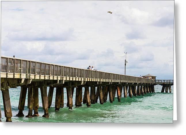 Fishing Pier At Pompano Beach, Broward Greeting Card