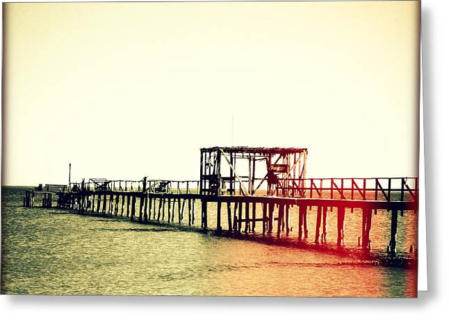Fishing Pier I Sunset Greeting Card