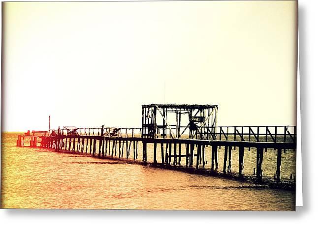 Fishing Pier II Sunset Greeting Card