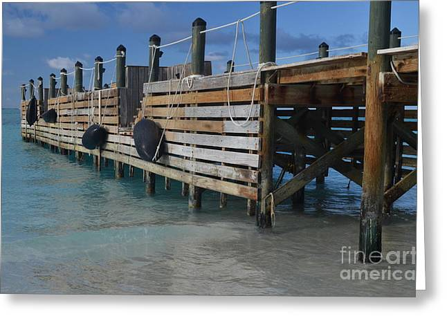 Fishing Pier Greeting Card by Judy Wolinsky