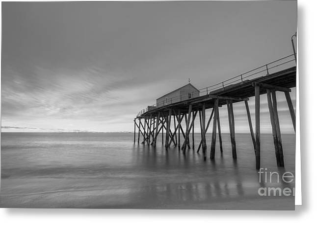 Fishing Pier Sunrise Bw 16x9 Greeting Card by Michael Ver Sprill
