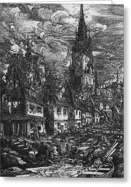 Fishing Port With Pointed Steeple Greeting Card by Rodolphe Bresdin