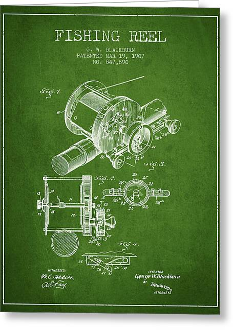 Fishing Reel Patent From 1907 - Green Greeting Card by Aged Pixel