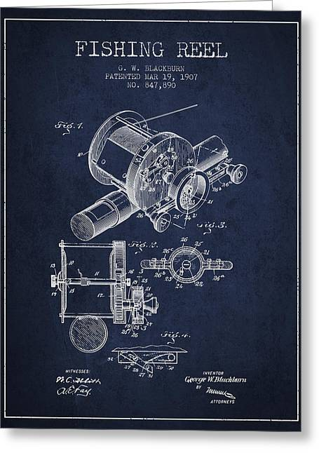 Fishing Reel Patent From 1907 - Navy Blue Greeting Card
