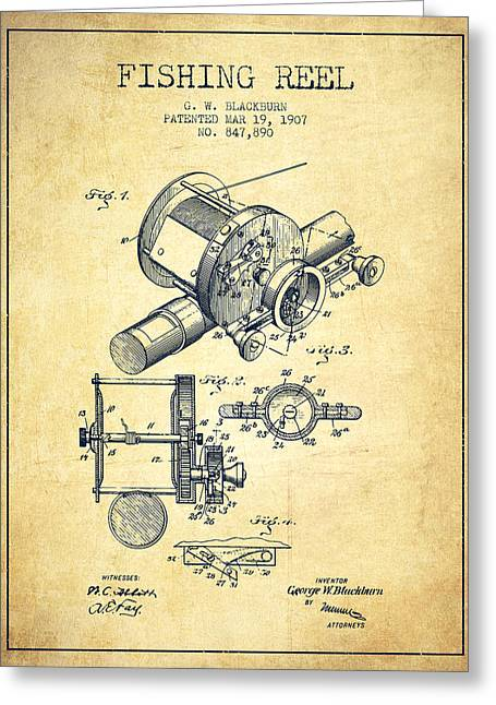 Fishing Reel Patent From 1907 - Vintage Greeting Card