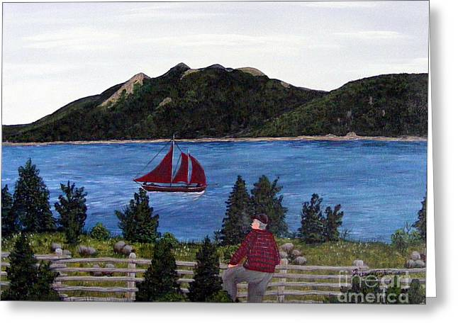 Fishing Schooner Greeting Card by Barbara Griffin
