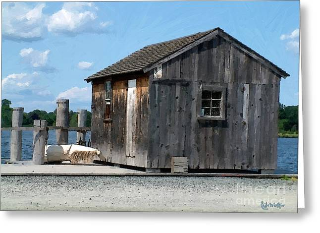 Fishing Shack On The Mystic River Greeting Card by RC DeWinter