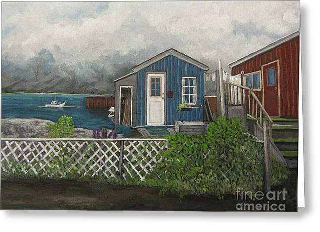 Shack Greeting Cards - Fishing Shacks Alaska Greeting Card by Reb Frost