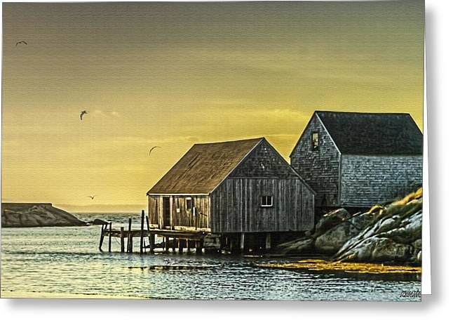 Fishing Shacks At Sunset Greeting Card