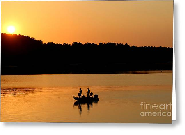 Greeting Card featuring the photograph Fishing Silhouette  by Kathy  White