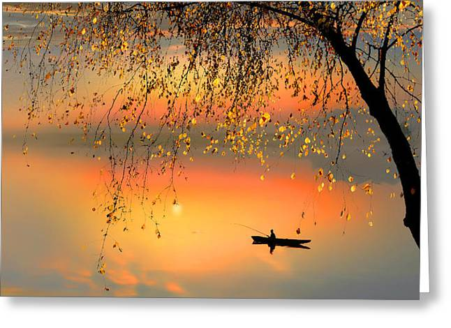 Fishing Sunset Greeting Card by Igor Zenin