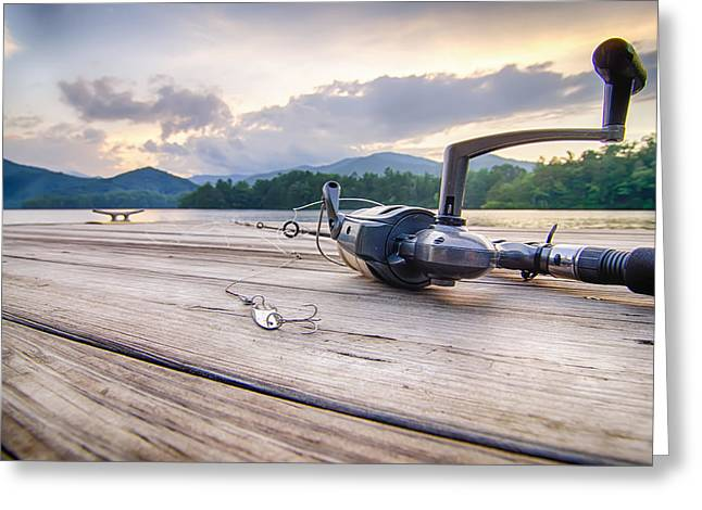 Fishing Tackle On A Wooden Float With Mountain Background In Nc Greeting Card by Alex Grichenko