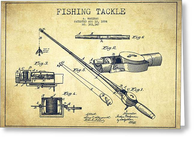 Fishing Tackle Patent From 1884 Greeting Card by Aged Pixel