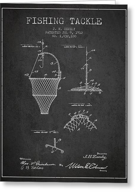 Fishing Tackle Patent From 1912 - Charcoal Greeting Card by Aged Pixel