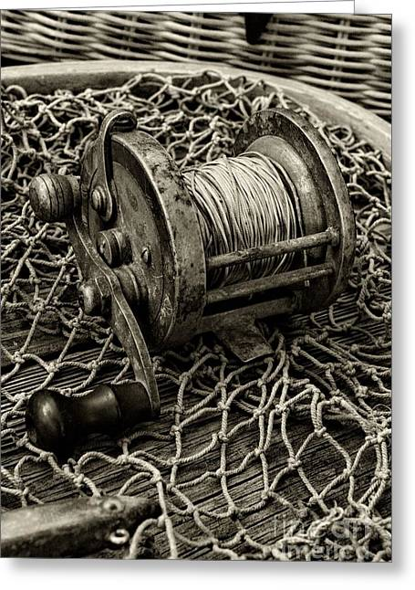Fishing - That Old Fishing Reel In Black And White Greeting Card by Paul Ward