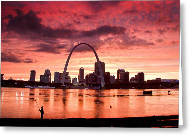 Fishing The Mississippi In St Louis Greeting Card