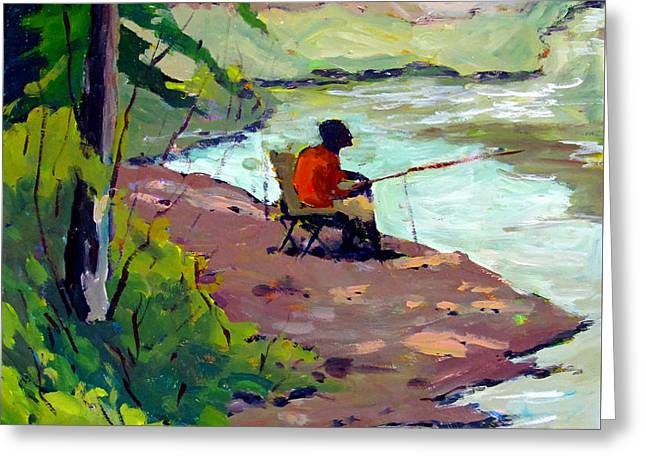 Fishing The Spillway Greeting Card by Charlie Spear