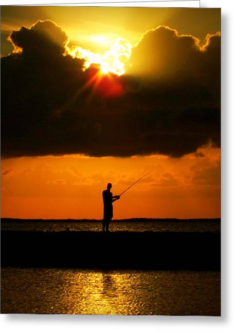 Fishing The Sun Greeting Card by Karen Wiles