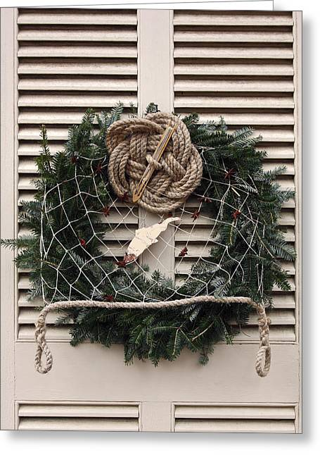 Fishing Theme Wreath Greeting Card by Sally Weigand