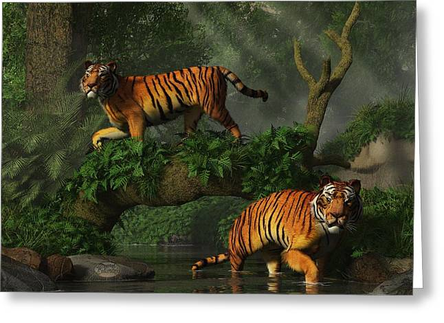 Fishing Tigers Greeting Card by Daniel Eskridge