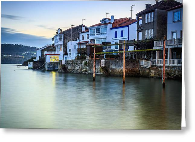 Fishing Town Of Redes Galicia Spain Greeting Card