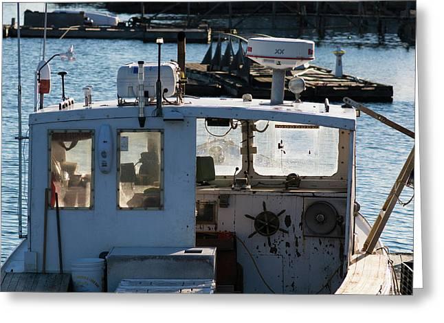 Fishing Trawler At Harbor, Lobster Greeting Card