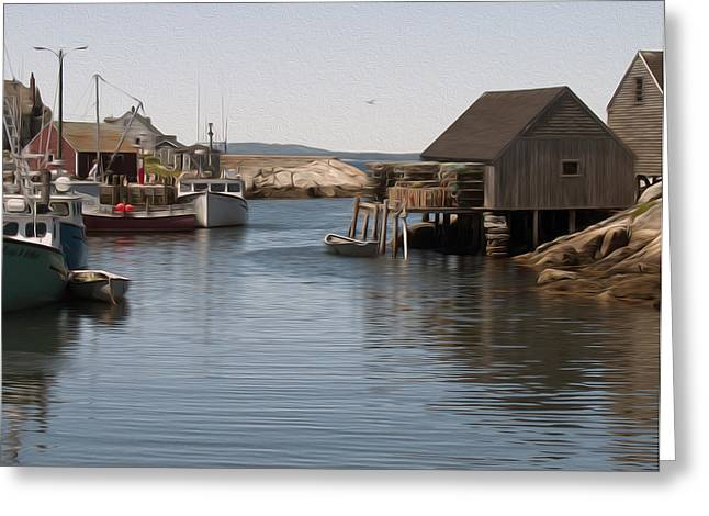 Greeting Card featuring the digital art Fishing Village by Kelvin Booker