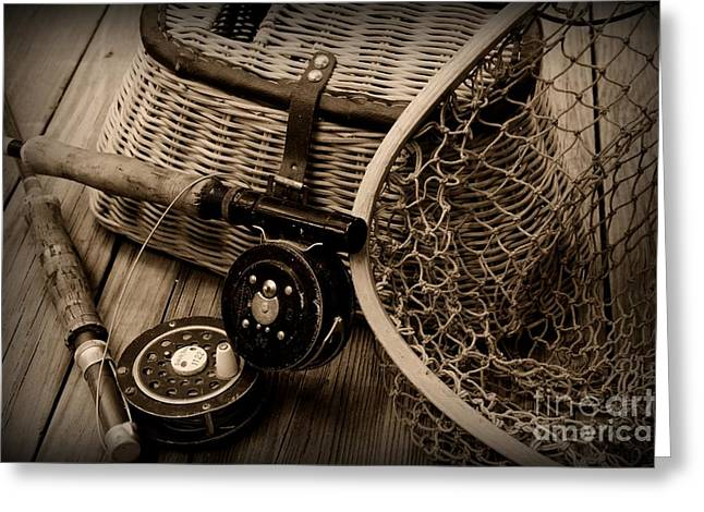 Fishing - Vintage Fishing  Black And White Greeting Card by Paul Ward