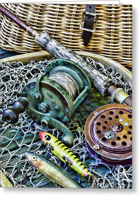 Fishing - Vintage Fishing Gear Greeting Card by Paul Ward