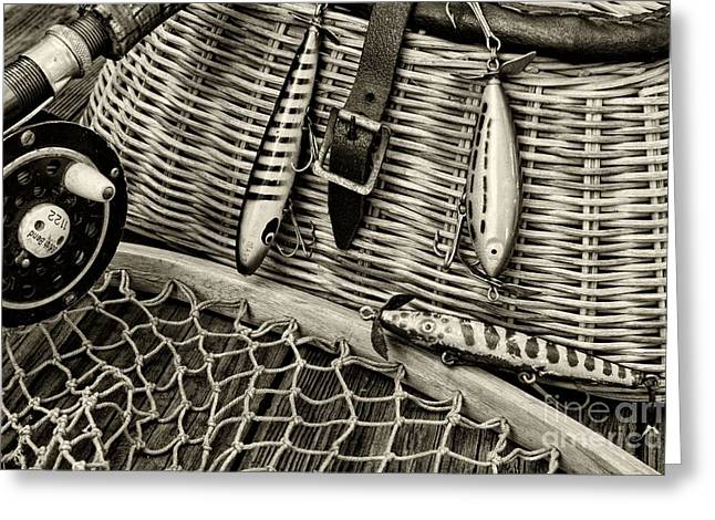 Fishing - Vintage Fishing Lures In Black And White Greeting Card by Paul Ward